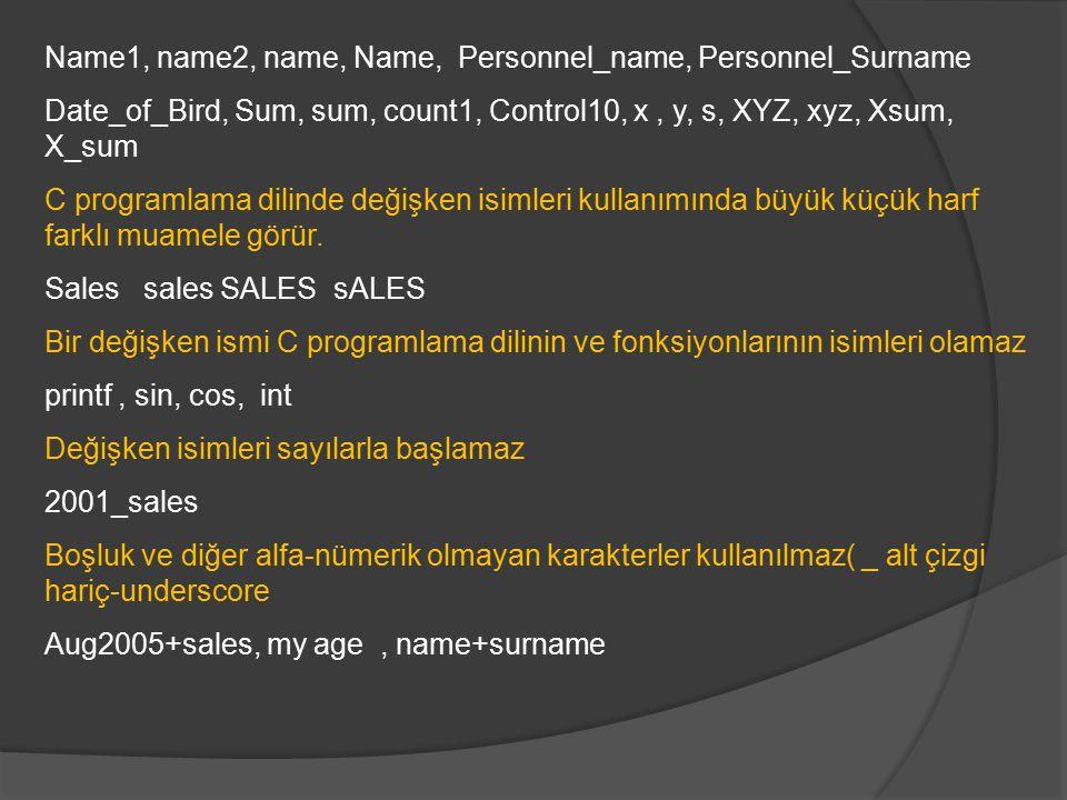 Name1, name2, name, Name, Personnel_name, Personnel_Surname Date_of_Bird, Sum, sum, count1, Control10, x, y, s, XYZ, xyz, Xsum, X_sum C programlama dilinde değişken isimleri kullanımında büyük küçük harf farklı muamele görür.