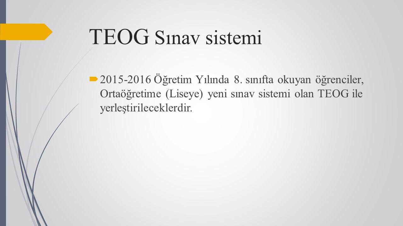 TEOG Sınav sistemi  2015-2016 Öğretim Yılında 8.