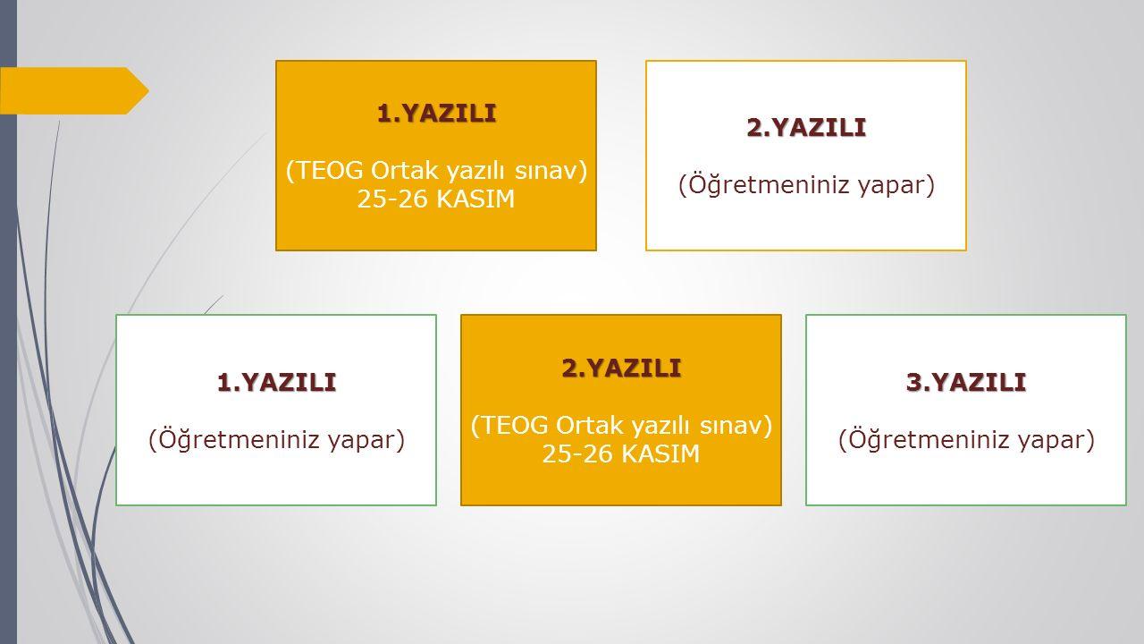 2.YAZILI 1.YAZILI (TEOG Ortak yazılı sınav) 25-26 KASIM 1.YAZILI (Öğretmeniniz yapar)2.YAZILI (TEOG Ortak yazılı sınav) 25-26 KASIM3.YAZILI (Öğretmeni