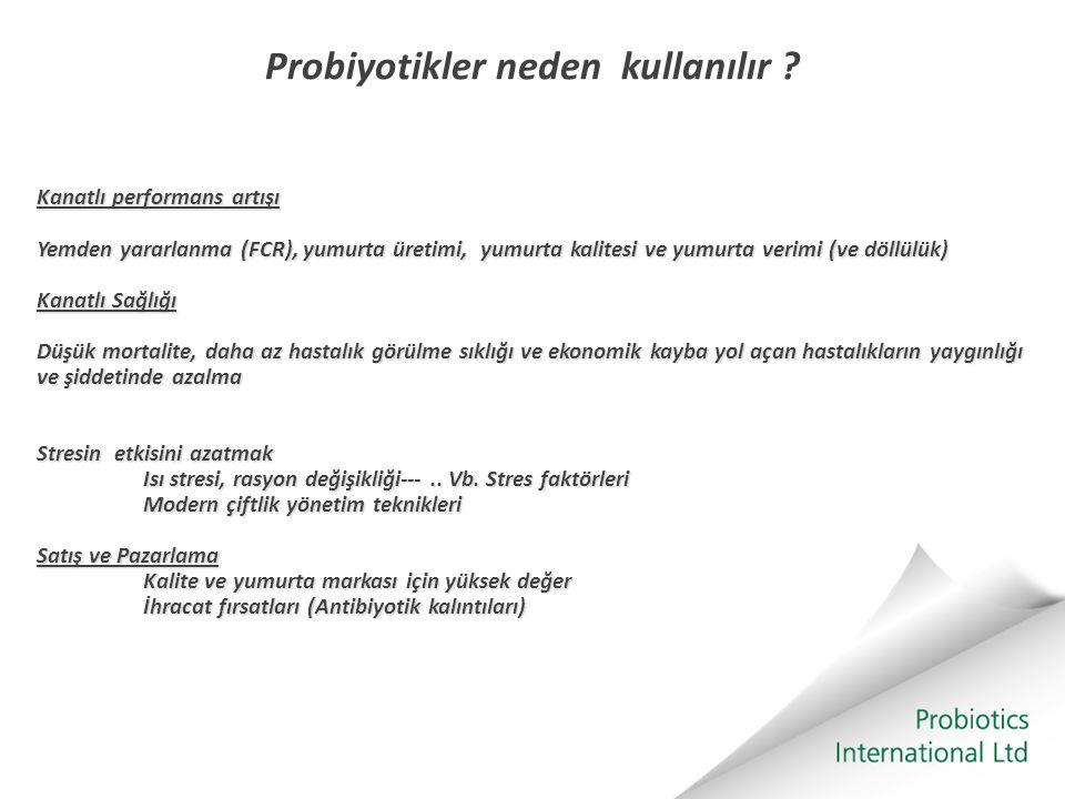 Probiyotikler neden kullanılır ? Kanatlı performans artışı Yemden yararlanma (FCR), yumurta üretimi, yumurta kalitesi ve yumurta verimi (ve döllülük)
