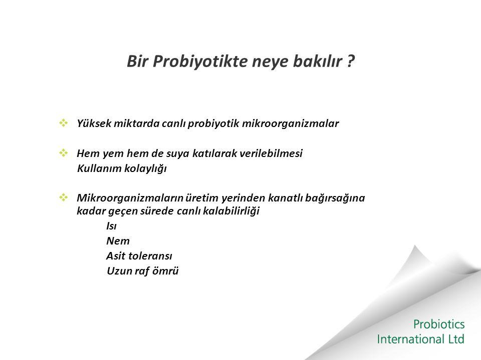 Bir Probiyotikte neye bakılır ?  Yüksek miktarda canlı probiyotik mikroorganizmalar  Hem yem hem de suya katılarak verilebilmesi Kullanım kolaylığı