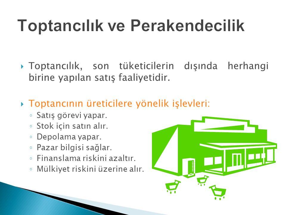  Toptancılık, son tüketicilerin dışında herhangi birine yapılan satış faaliyetidir.  Toptancının üreticilere yönelik işlevleri: ◦ Satış görevi yapar