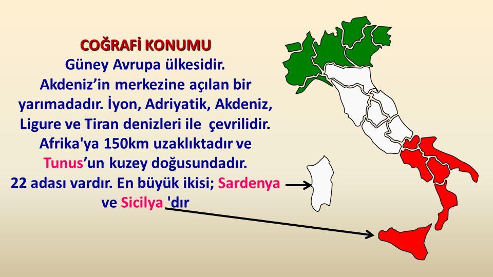 COĞRAFİ KONUMU COĞRAFİ KONUMU Güney Avrupa ülkesidir.