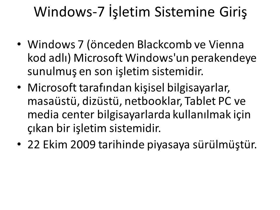 Windows-7 İşletim Sistemine Giriş Windows 7 (önceden Blackcomb ve Vienna kod adlı) Microsoft Windows un perakendeye sunulmuş en son işletim sistemidir.