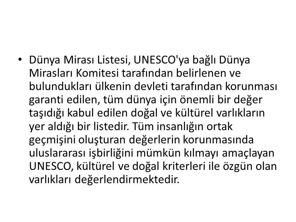 Dünya Mirası Listesi, UNESCO'ya bağlı Dünya Mirasları Komitesi tarafından belirlenen ve bulundukları ülkenin devleti tarafından korunması garanti edil