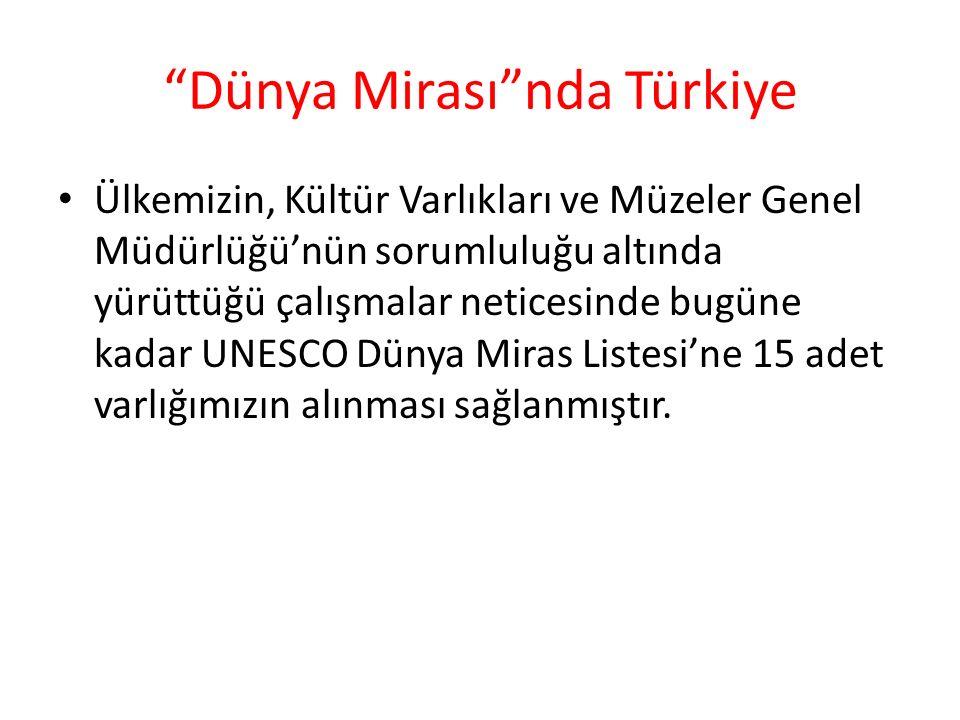 Dünya Mirası nda Türkiye Ülkemizin, Kültür Varlıkları ve Müzeler Genel Müdürlüğü'nün sorumluluğu altında yürüttüğü çalışmalar neticesinde bugüne kadar UNESCO Dünya Miras Listesi'ne 15 adet varlığımızın alınması sağlanmıştır.