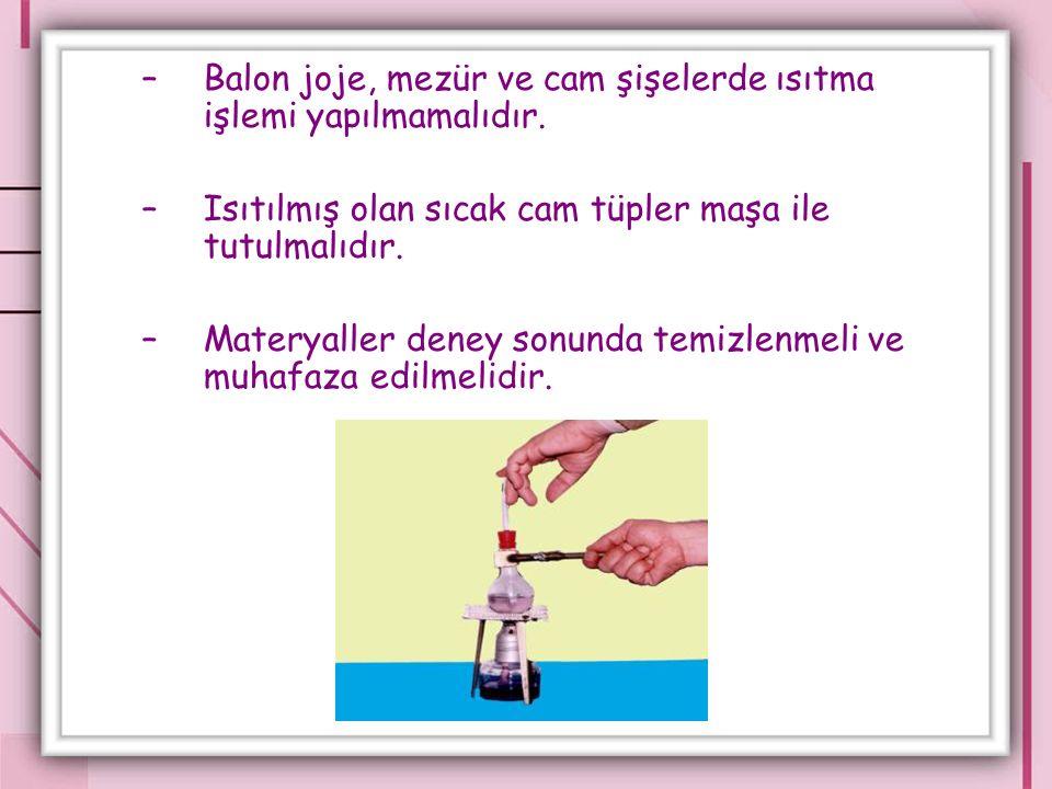 –Balon joje, mezür ve cam şişelerde ısıtma işlemi yapılmamalıdır.
