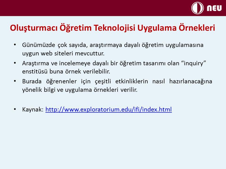 Günümüzde çok sayıda, araştırmaya dayalı öğretim uygulamasına uygun web siteleri mevcuttur.