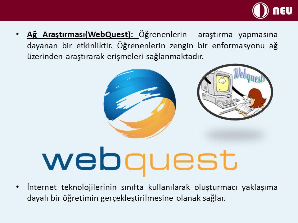 Ağ Araştırması(WebQuest): Öğrenenlerin araştırma yapmasına dayanan bir etkinliktir.