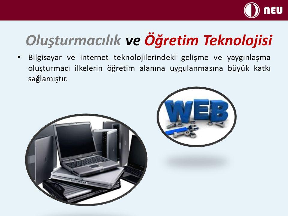 Oluşturmacılık ve Öğretim Teknolojisi Bilgisayar ve internet teknolojilerindeki gelişme ve yaygınlaşma oluşturmacı ilkelerin öğretim alanına uygulanmasına büyük katkı sağlamıştır.