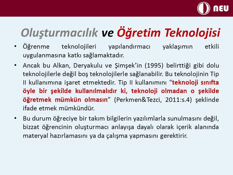 Öğrenme teknolojileri yapılandırmacı yaklaşımın etkili uygulanmasına katkı sağlamaktadır.