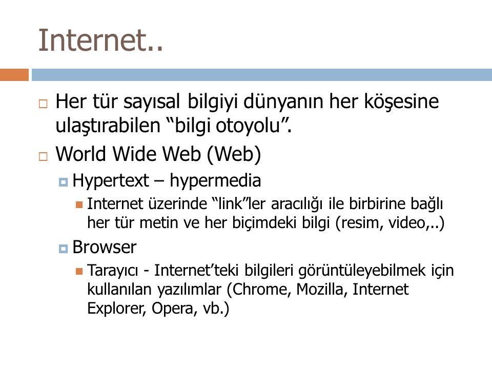 """Internet..  Her tür sayısal bilgiyi dünyanın her köşesine ulaştırabilen """"bilgi otoyolu"""".  World Wide Web (Web)  Hypertext – hypermedia Internet üze"""