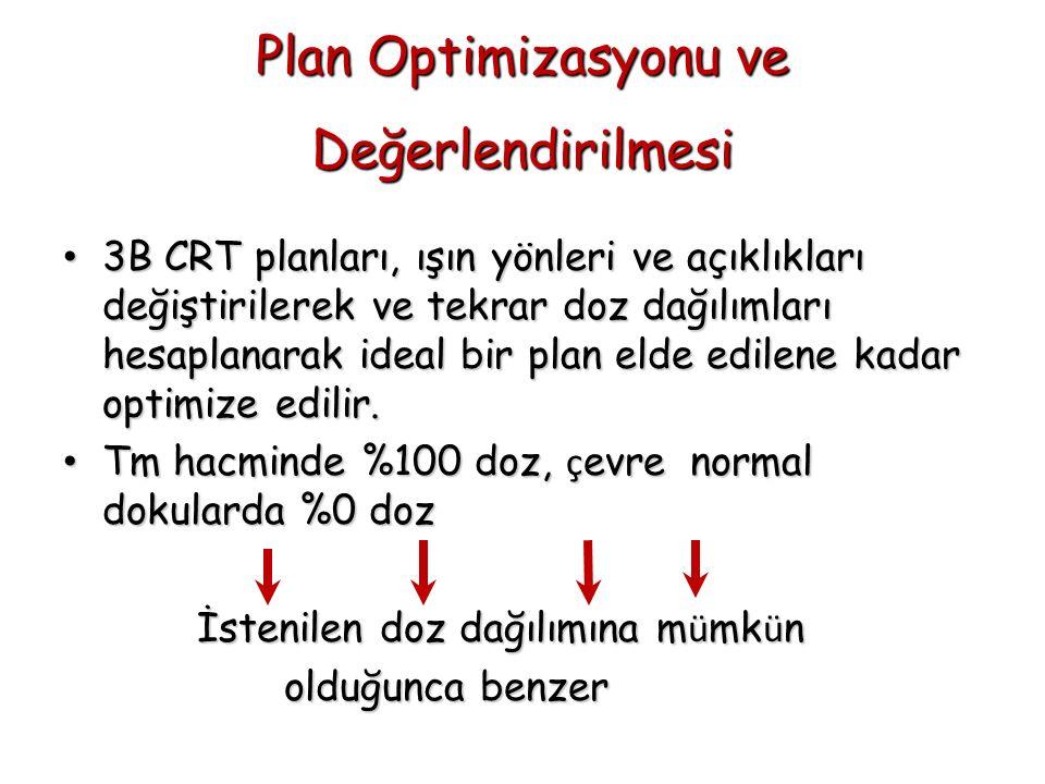 Plan Optimizasyonu ve Değerlendirilmesi 3B CRT planları, ışın yönleri ve açıklıkları değiştirilerek ve tekrar doz dağılımları hesaplanarak ideal bir p