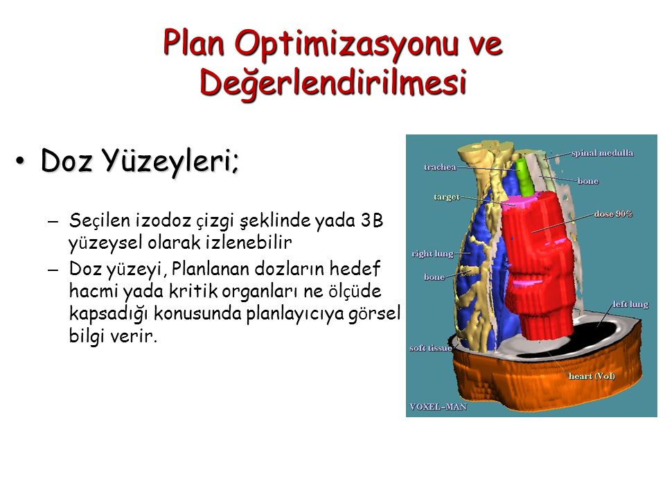 Plan Optimizasyonu ve Değerlendirilmesi Doz Yüzeyleri; Doz Yüzeyleri; – Se ç ilen izodoz ç izgi şeklinde yada 3B y ü zeysel olarak izlenebilir – Doz y