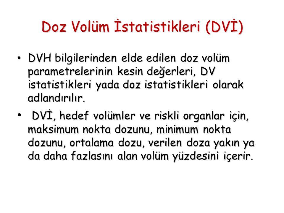 Doz Volüm İstatistikleri (DVİ) DVH bilgilerinden elde edilen doz volüm parametrelerinin kesin değerleri, DV istatistikleri yada doz istatistikleri ola