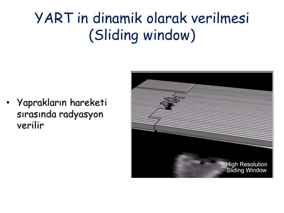 YART in dinamik olarak verilmesi (Sliding window) Yaprakların hareketi sırasında radyasyon verilir Yaprakların hareketi sırasında radyasyon verilir