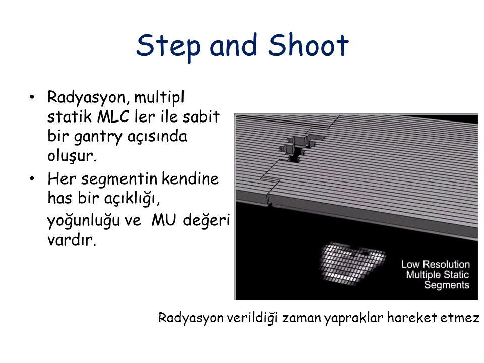 Step and Shoot Radyasyon, multipl statik MLC ler ile sabit bir gantry açısında oluşur. Her segmentin kendine has bir açıklığı, yoğunluğu ve MU değeri