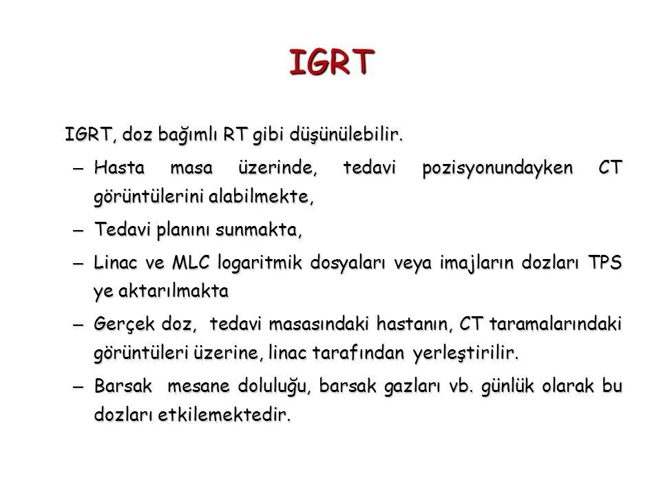 IGRT IGRT, doz bağımlı RT gibi düşünülebilir. – Hasta masa üzerinde, tedavi pozisyonundayken CT görüntülerini alabilmekte, – Tedavi planını sunmakta,