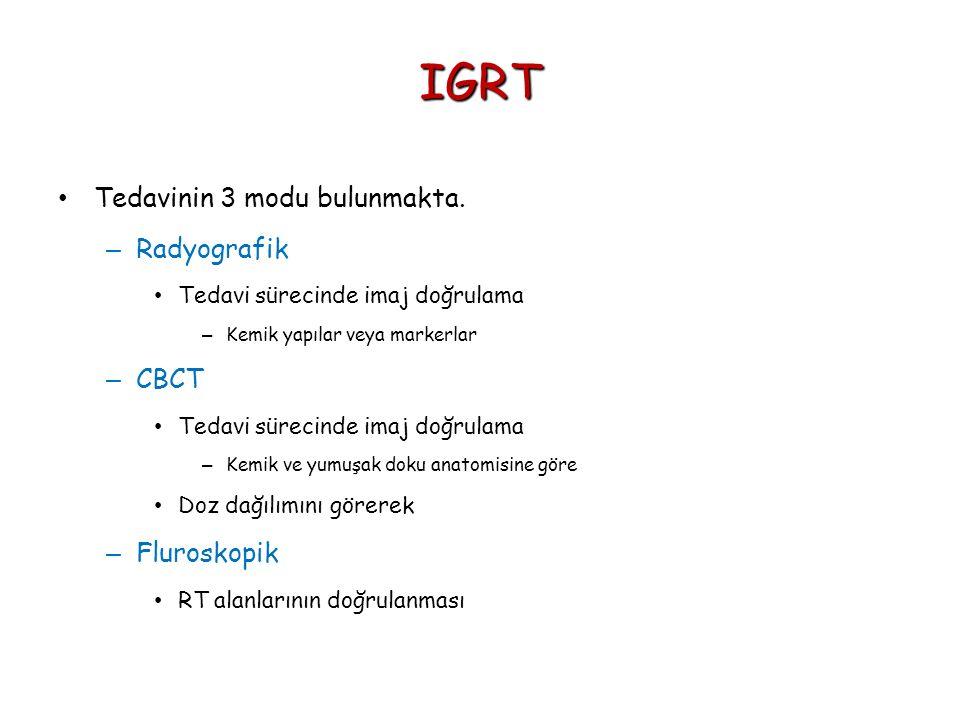 IGRT Tedavinin 3 modu bulunmakta. – Radyografik Tedavi sürecinde imaj doğrulama – Kemik yapılar veya markerlar – CBCT Tedavi sürecinde imaj doğrulama
