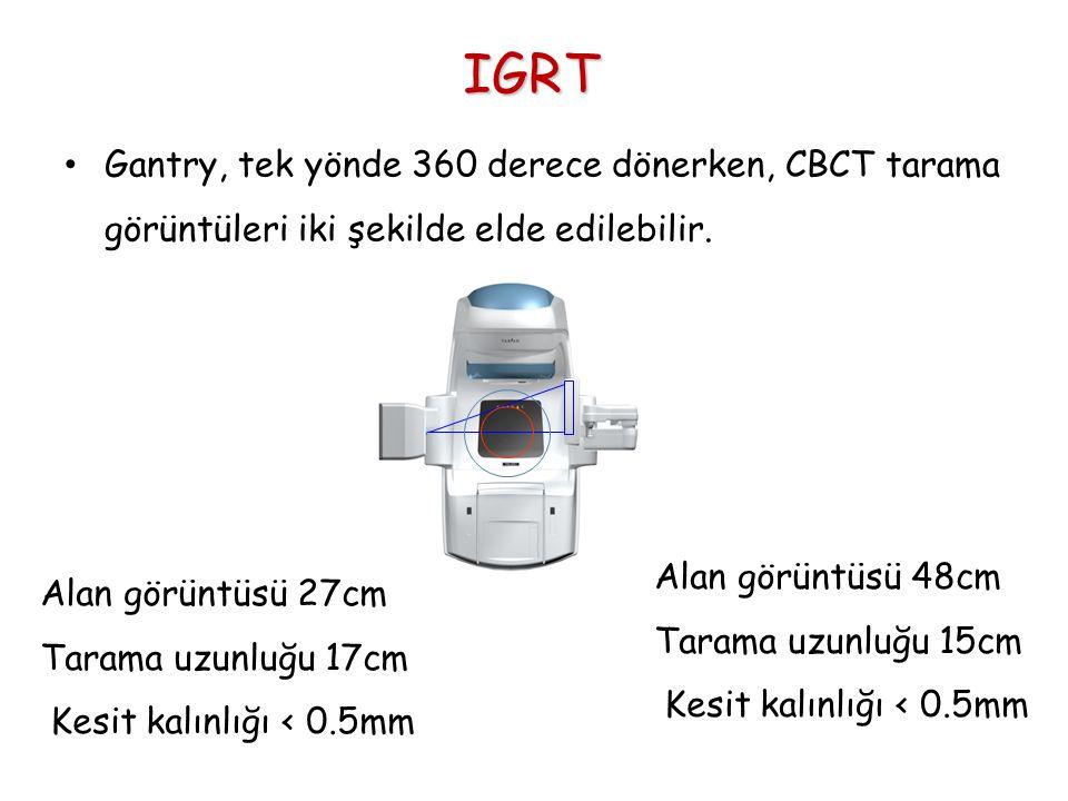 IGRT Gantry, tek yönde 360 derece dönerken, CBCT tarama görüntüleri iki şekilde elde edilebilir. Alan görüntüsü 27cm Tarama uzunluğu 17cm Kesit kalınl