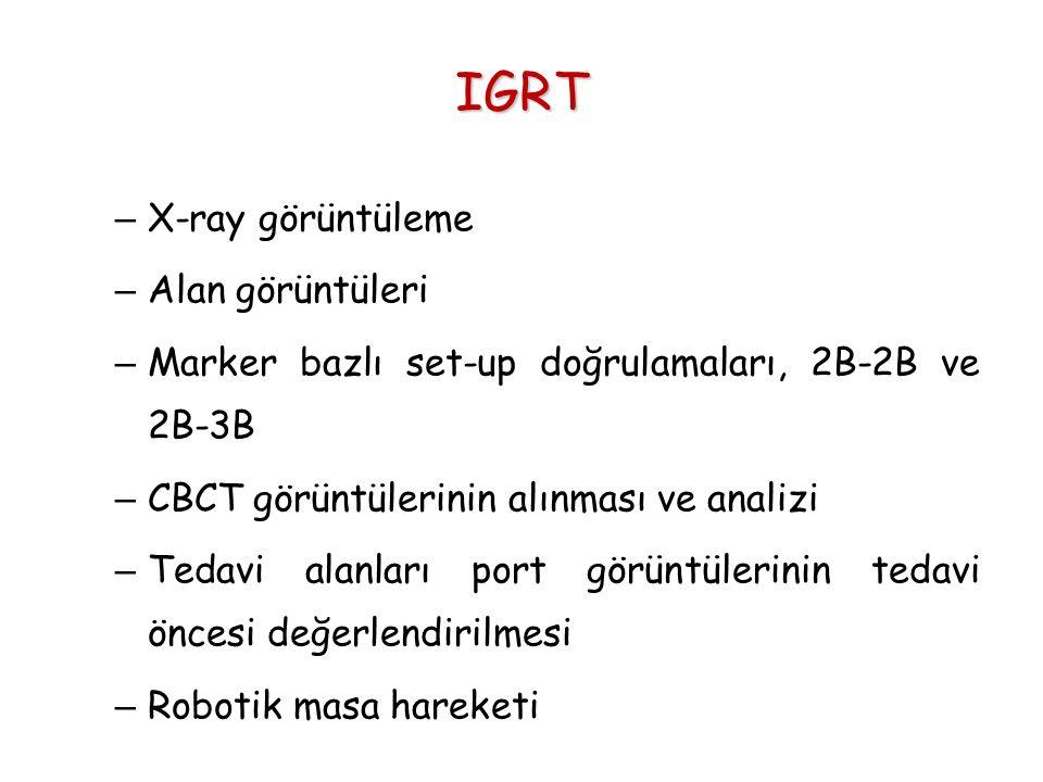 IGRT – X-ray görüntüleme – Alan görüntüleri – Marker bazlı set-up doğrulamaları, 2B-2B ve 2B-3B – CBCT görüntülerinin alınması ve analizi – Tedavi ala