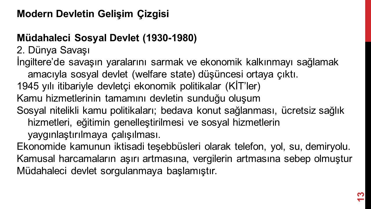13 Modern Devletin Gelişim Çizgisi Müdahaleci Sosyal Devlet (1930-1980) 2.