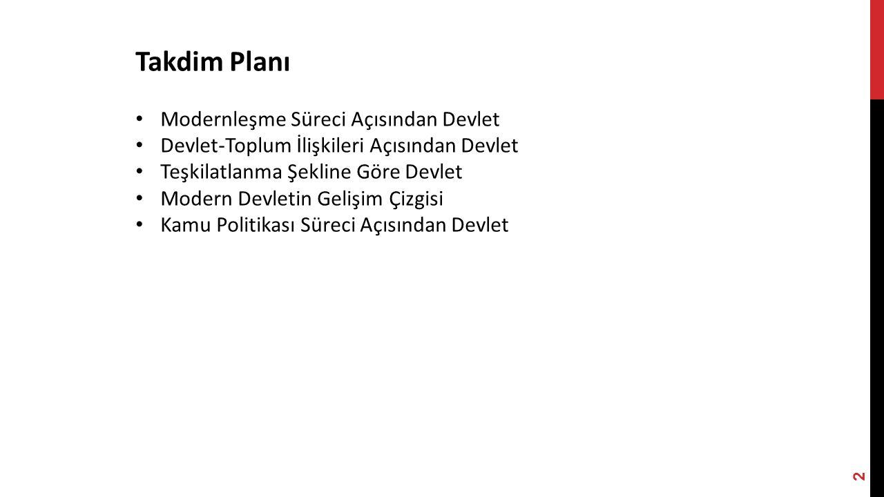 Takdim Planı Modernleşme Süreci Açısından Devlet Devlet-Toplum İlişkileri Açısından Devlet Teşkilatlanma Şekline Göre Devlet Modern Devletin Gelişim Çizgisi Kamu Politikası Süreci Açısından Devlet 2