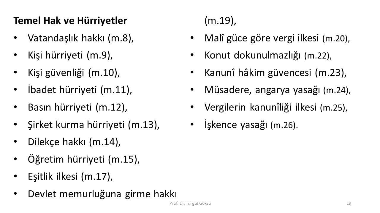 Prof. Dr. Turgut Göksu19 Temel Hak ve Hürriyetler Vatandaşlık hakkı (m.8), Kişi hürriyeti (m.9), Kişi güvenliği (m.10), İbadet hürriyeti (m.11), Basın