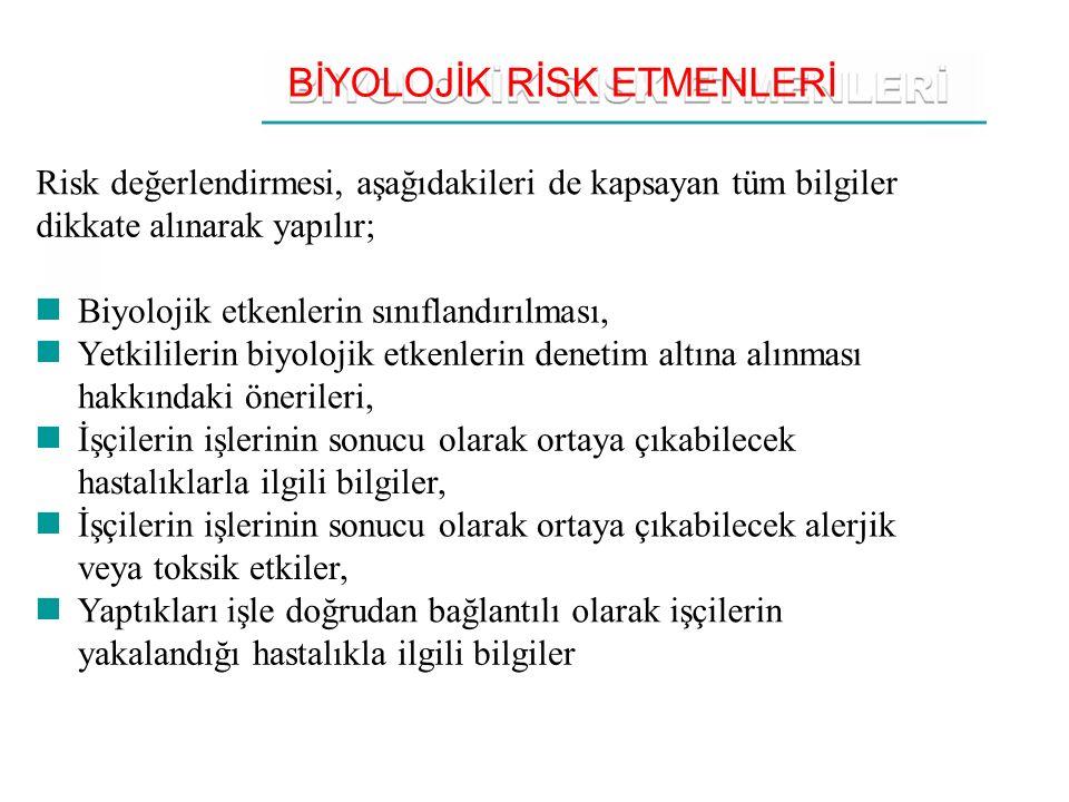 BİYOLOJİK RİSK ETMENLERİ Risk değerlendirmesi, aşağıdakileri de kapsayan tüm bilgiler dikkate alınarak yapılır; Biyolojik etkenlerin sınıflandırılması