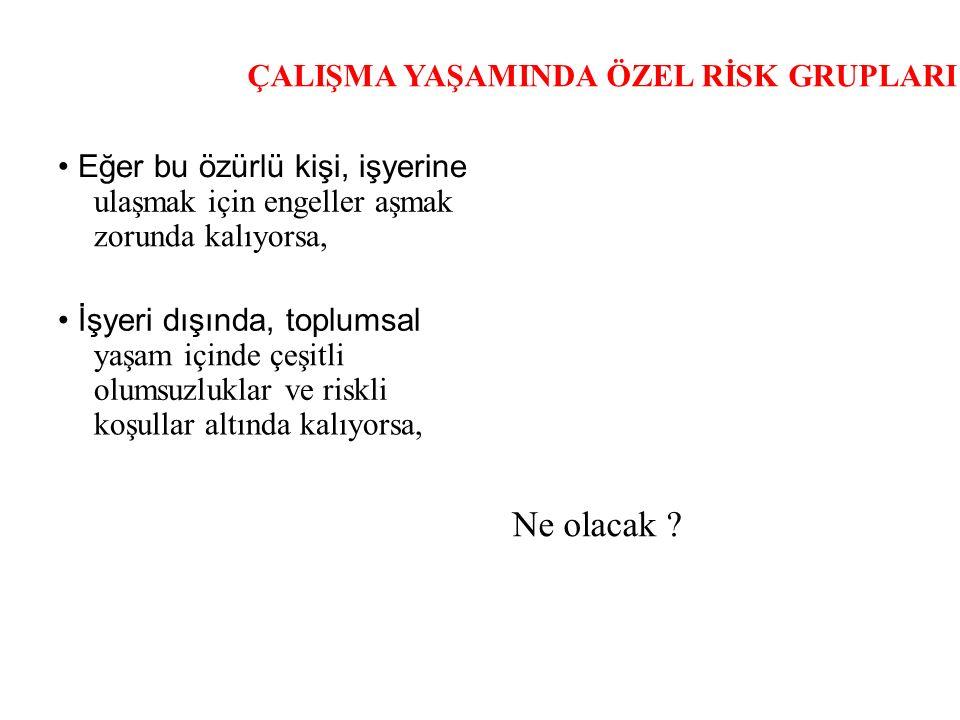 ÇALIŞMA YAŞAMINDA ÖZEL RİSK GRUPLARI Türkiye'de işçi sağlığı ve güvenliğine ilişkin bir durum değerlendirmesi yaptığımızda, bu alandaki risk yönetim sürecinin öncelikleri şu şekilde ortaya çıkmaktadır: Öncelikli kesimler: Küçük ve orta ölçekli işletmeler Öncelikli riskler: İş kazaları ve meslek hastalıkları Öncelikli gruplar: Çocuklar ve gençler Öncelikli alanlar: Madeni eşya imalatı ve tekstil.