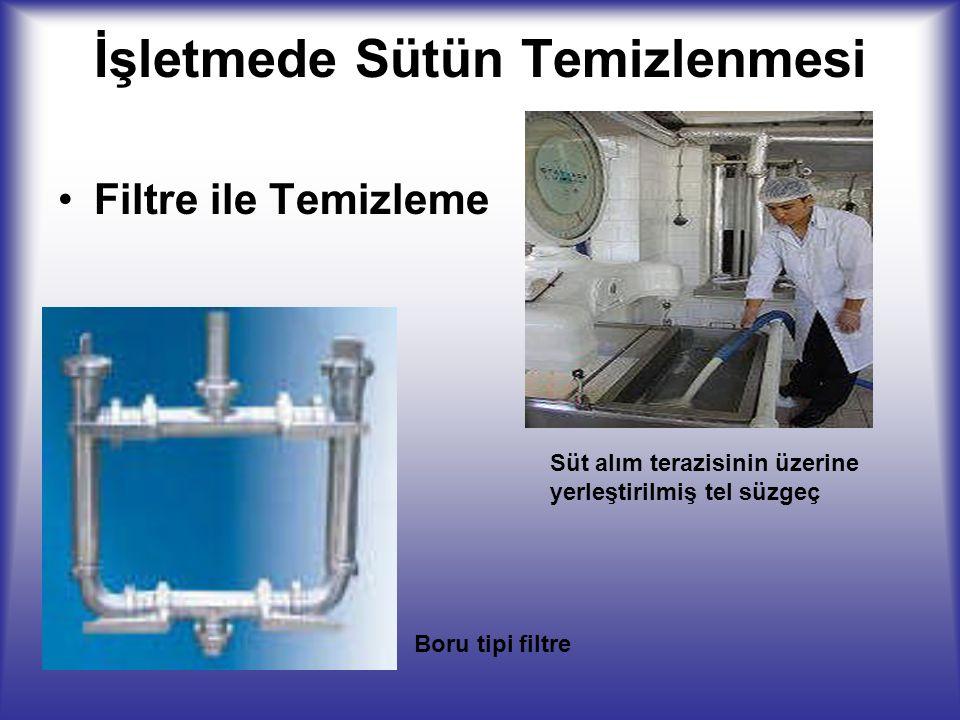 İşletmede Sütün Temizlenmesi Filtre ile Temizleme Süt alım terazisinin üzerine yerleştirilmiş tel süzgeç Boru tipi filtre