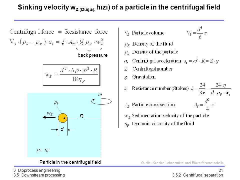 21 Sinking velocity w Z (Düşüş hızı) of a particle in the centrifugal field back pressure R d FF   F,  F wZwZ Particle in the centrifugal field 3