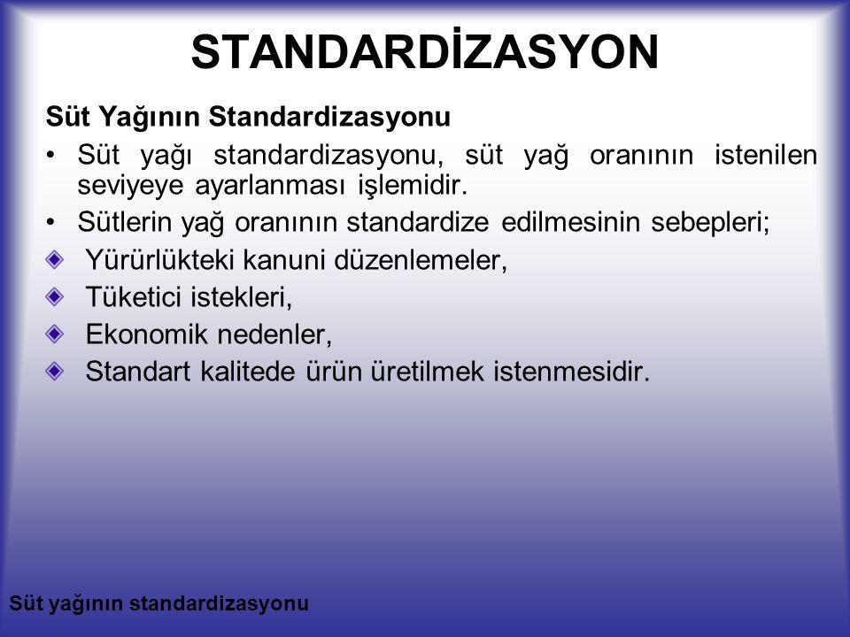 STANDARDİZASYON Süt Yağının Standardizasyonu Süt yağı standardizasyonu, süt yağ oranının istenilen seviyeye ayarlanması işlemidir. Sütlerin yağ oranın