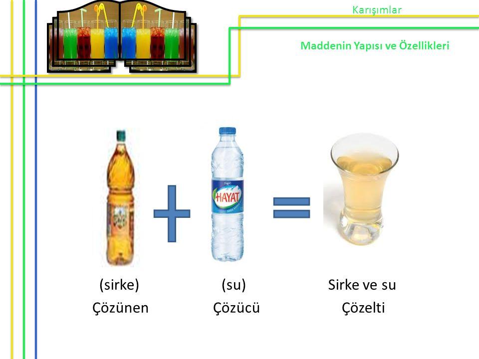 (sirke) (su) Sirke ve su Çözünen Çözücü Çözelti Karışımlar Maddenin Yapısı ve Özellikleri