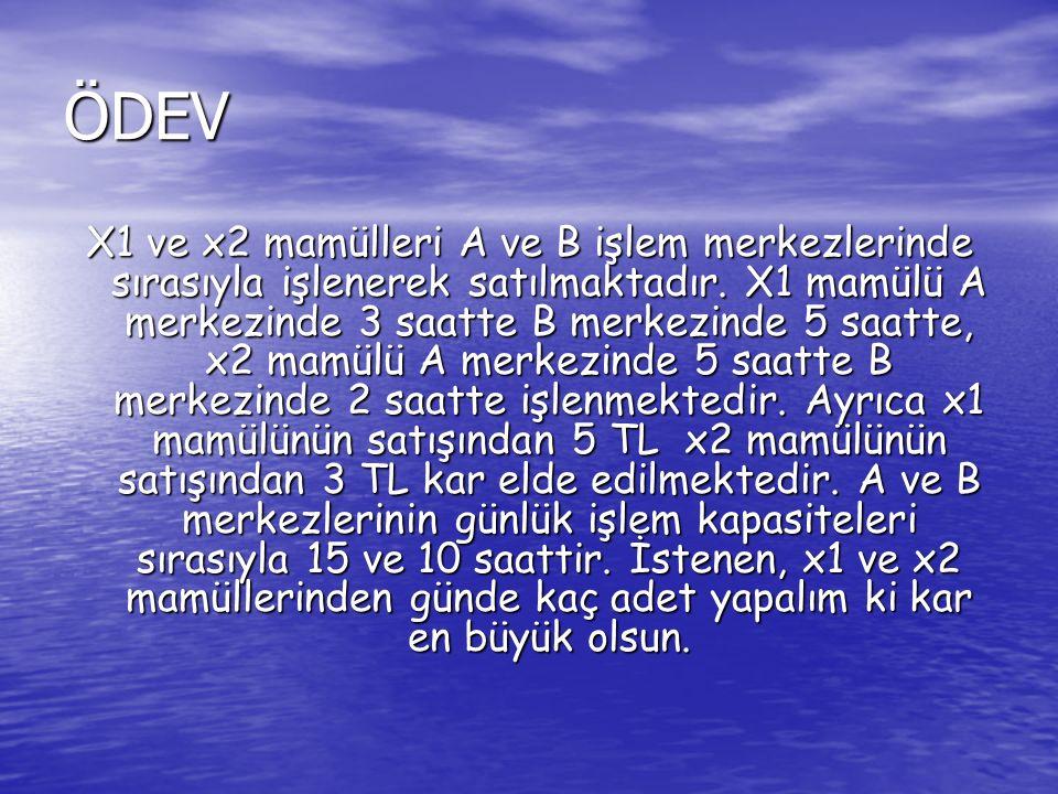 ÖDEV X1 ve x2 mamülleri A ve B işlem merkezlerinde sırasıyla işlenerek satılmaktadır.