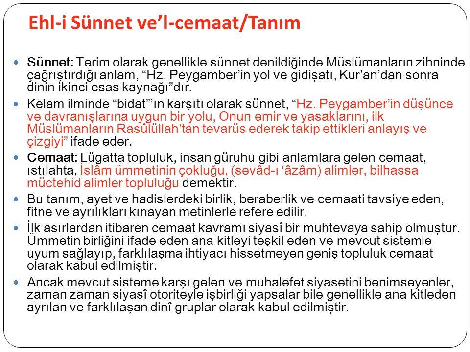 Ehl-i Sünnet ve'l-cemaat/Tanım Sünnet: Terim olarak genellikle sünnet denildiğinde Müslümanların zihninde çağrıştırdığı anlam, Hz.