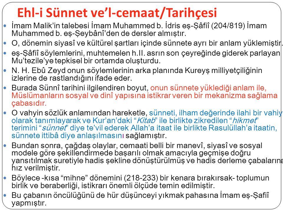 Ehl-i Sünnet ve'l-cemaat/Tarihçesi İmam Malik'in talebesi İmam Muhammed b.