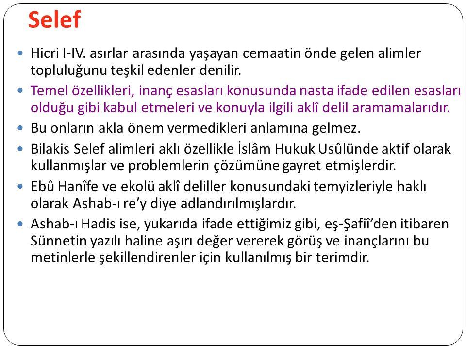Selef Hicri I-IV.