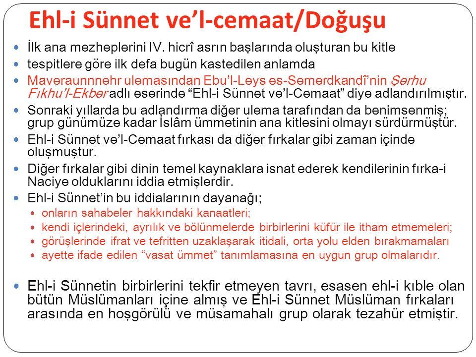 Ehl-i Sünnet ve'l-cemaat/Doğuşu İlk ana mezheplerini IV.