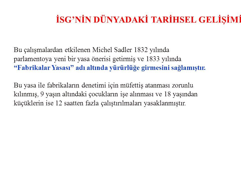 İSG'NİN DÜNYADAKİ TARİHSEL GELİŞİMİ Bu çalışmalardan etkilenen Michel Sadler 1832 yılında parlamentoya yeni bir yasa önerisi getirmiş ve 1833 yılında Fabrikalar Yasası adı altında yürürlüğe girmesini sağlamıştır.