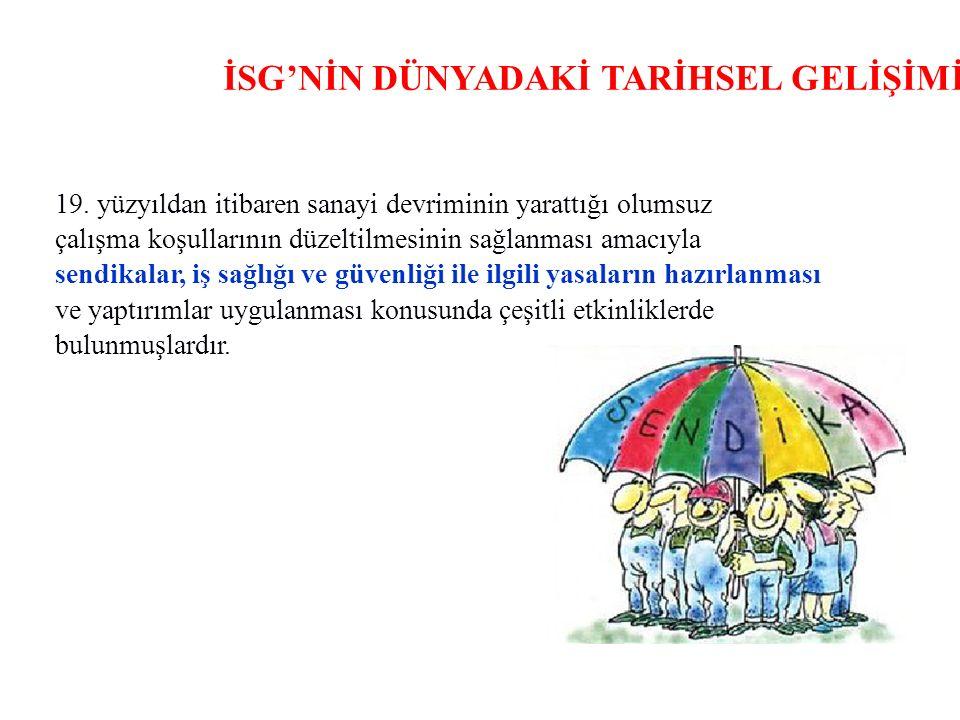 İSG'NİN DÜNYADAKİ TARİHSEL GELİŞİMİ 19.