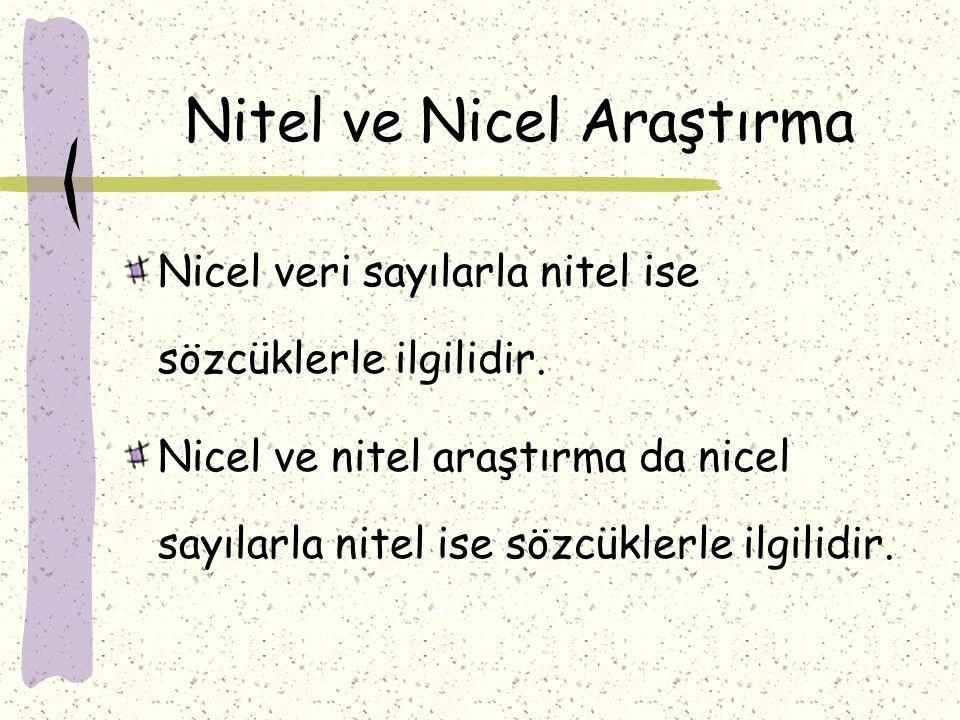 Nitel ve Nicel Araştırma Nicel veri sayılarla nitel ise sözcüklerle ilgilidir. Nicel ve nitel araştırma da nicel sayılarla nitel ise sözcüklerle ilgil