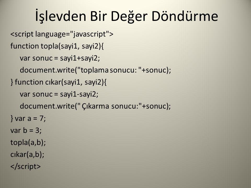 İşlevden Bir Değer Döndürme function topla(sayi1, sayi2){ var sonuc = sayi1+sayi2; document.write(