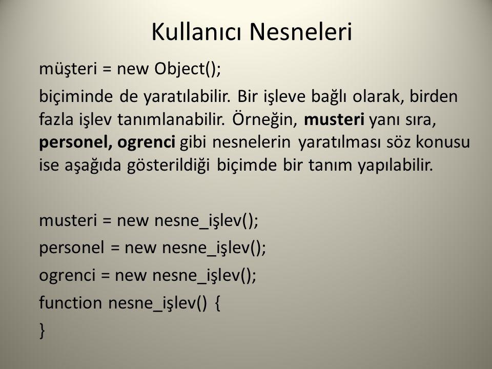 Kullanıcı Nesneleri müşteri = new Object(); biçiminde de yaratılabilir. Bir işleve bağlı olarak, birden fazla işlev tanımlanabilir. Örneğin, musteri y