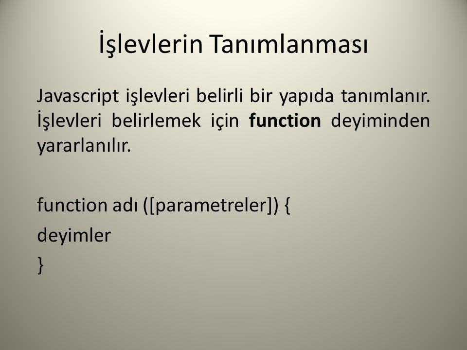 İşlevlerin Tanımlanması Javascript işlevleri belirli bir yapıda tanımlanır. İşlevleri belirlemek için function deyiminden yararlanılır. function adı (