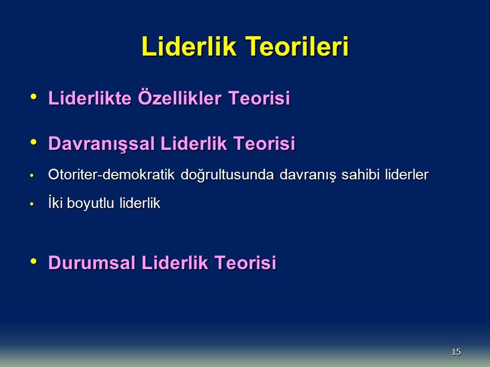 15 Liderlik Teorileri Liderlikte Özellikler Teorisi Liderlikte Özellikler Teorisi Davranışsal Liderlik Teorisi Davranışsal Liderlik Teorisi Otoriter-d