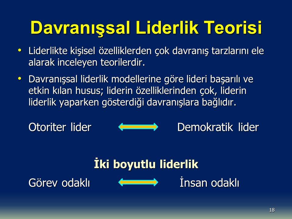 Davranışsal Liderlik Teorisi Liderlikte kişisel özelliklerden çok davranış tarzlarını ele alarak inceleyen teorilerdir. Liderlikte kişisel özelliklerd
