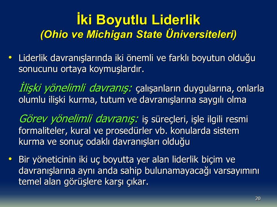 İki Boyutlu Liderlik (Ohio ve Michigan State Üniversiteleri) Liderlik davranışlarında iki önemli ve farklı boyutun olduğu sonucunu ortaya koymuşlardır