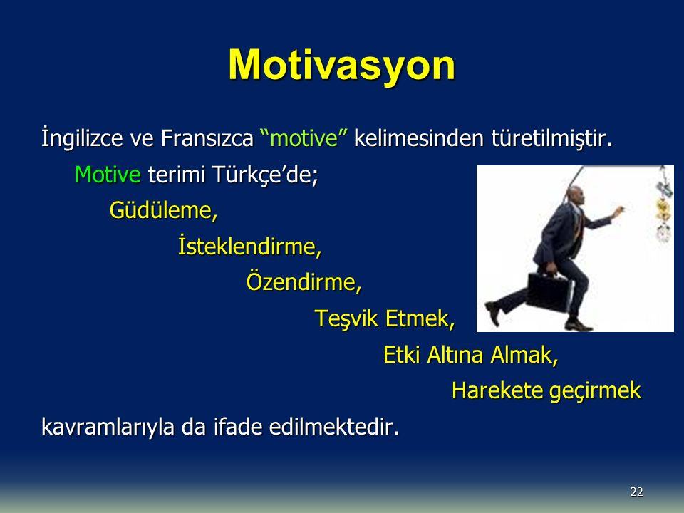 """Motivasyon 22 İngilizce ve Fransızca """"motive"""" kelimesinden türetilmiştir. Motive terimi Türkçe'de; Güdüleme,İsteklendirme,Özendirme, Teşvik Etmek, Etk"""