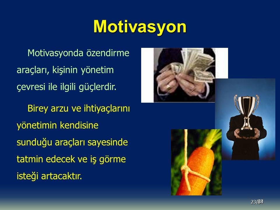 Motivasyon 23 23/84 Motivasyonda özendirme araçları, kişinin yönetim çevresi ile ilgili güçlerdir. Birey arzu ve ihtiyaçlarını yönetimin kendisine sun